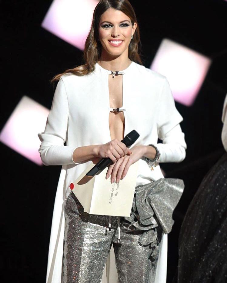 Miss Universe 2016 Iris Mittenaere of France glowing in STEPHANE ROLLAND Haute Couture while hosting 'Les Victoires de la Musique'